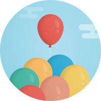 Illustration of several differently colored balloons.
