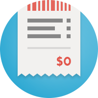 Illustration of a bill with a $0 charge.